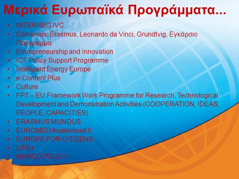 Μερικά Ευρωπαϊκά Προγράμματα... •INTERREG IVC •Comenius, Erasmus, Leonardo da Vinci, Grundtvig, Εγκάρσιο Πρόγραμμα •Entrepreneurship and Innovation •I