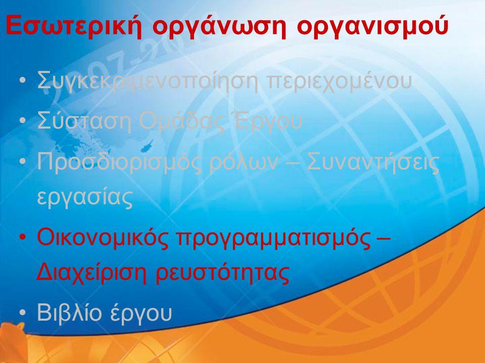 Εσωτερική οργάνωση οργανισμού •Συγκεκριμενοποίηση περιεχομένου •Σύσταση Ομάδας Έργου •Προσδιορισμός ρόλων – Συναντήσεις εργασίας •Οικονομικός προγραμμ
