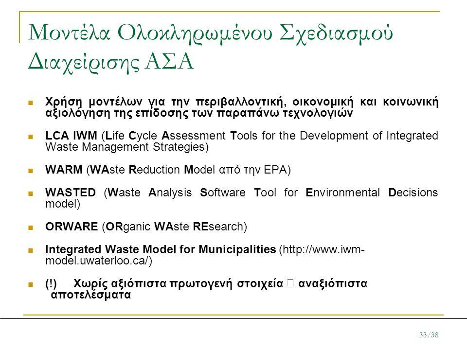 Μοντέλα Ολοκληρωμένου Σχεδιασμού Διαχείρισης ΑΣΑ  Χρήση μοντέλων για την περιβαλλοντική, οικονομική και κοινωνική αξιολόγηση της επίδοσης των παραπάν