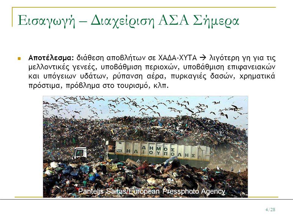 Εισαγωγή – Διαχείριση ΑΣΑ Σήμερα  Αποτέλεσμα: διάθεση αποβλήτων σε ΧΑΔΑ-ΧΥΤΑ  λιγότερη γη για τις μελλοντικές γενεές, υποβάθμιση περιοχών, υποβάθμισ