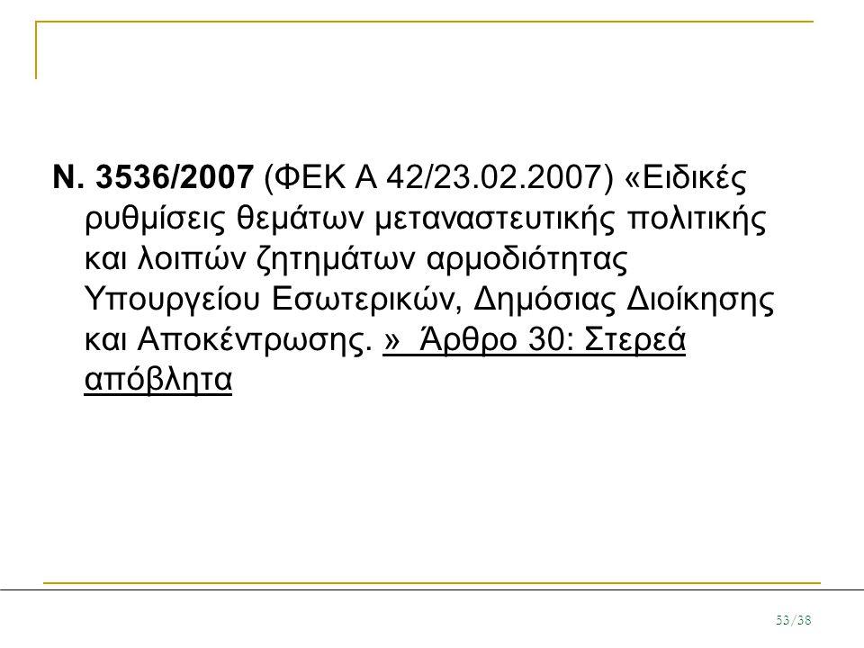 N. 3536/2007 (ΦΕΚ A 42/23.02.2007) «Ειδικές ρυθμίσεις θεμάτων μεταναστευτικής πολιτικής και λοιπών ζητημάτων αρμοδιότητας Υπουργείου Εσωτερικών, Δημόσ
