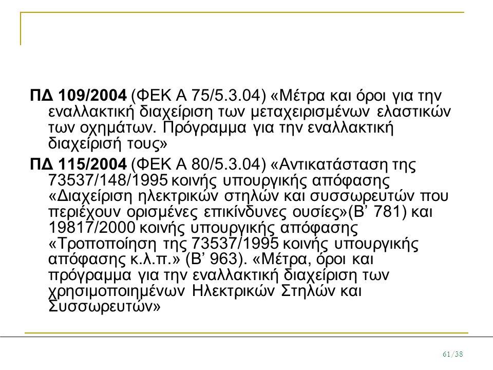 ΠΔ 109/2004 (ΦΕΚ Α 75/5.3.04) «Μέτρα και όροι για την εναλλακτική διαχείριση των μεταχειρισμένων ελαστικών των οχημάτων. Πρόγραμμα για την εναλλακτική