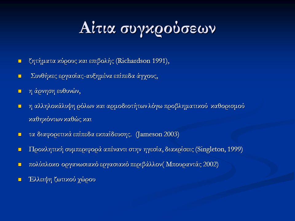 Αίτια συγκρούσεων  διαφορετικές συνεργαζόμενες αλληλεπιδρούσες επαγγελματικές ομάδες(Tengilimoglu, Kisa 2005)  Η ύπαρξη στερεοτύπων σχετικά με το επάγγελμα των νοσηλευτών και των ιατρών, η αλλαγή ρόλου των νοσηλευτών, η επικράτηση του γυναικείου φύλου στο επάγγελμα του νοσηλευτή και η διαφοροποίηση στην ακαδημαϊκή και στην επαγγελματική τους εξέλιξη (Jacinta 2006)  Περιορισμένοι πόροι ( έλλειψη προσωπικού,οικονομικοί και υλικοτεχνικοί πόροι)  έλλειψη οργάνωσης και προβλήματα διοίκησης  διαφορές νοοτροπίας, θέσης, επιπέδου μόρφωσης στις διάφορες ιεραρχικές βαθμίδες