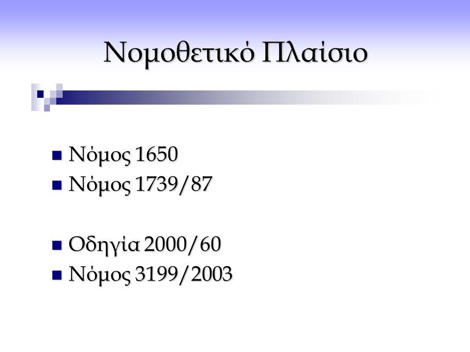 Νομοθετικό Πλαίσιο  Νόμος 1650  Νόμος 1739/87  Οδηγία 2000/60  Νόμος 3199/2003