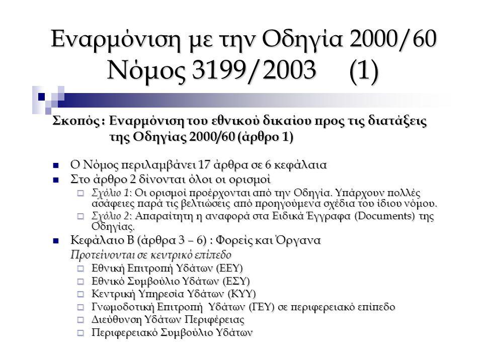 Εναρμόνιση με την Οδηγία 2000/60 Νόμος 3199/2003 (1) Σκοπός : Εναρμόνιση του εθνικού δικαίου προς τις διατάξεις της Οδηγίας 2000/60 (άρθρο 1) της Οδηγ