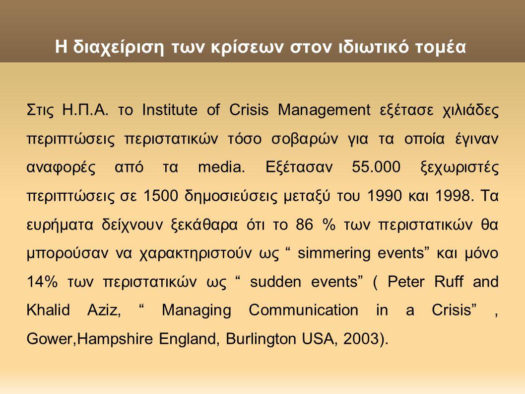 Η διαχείριση των κρίσεων στον ιδιωτικό τομέα Στις Η.Π.Α. το Institute of Crisis Management εξέτασε χιλιάδες περιπτώσεις περιστατικών τόσο σοβαρών για