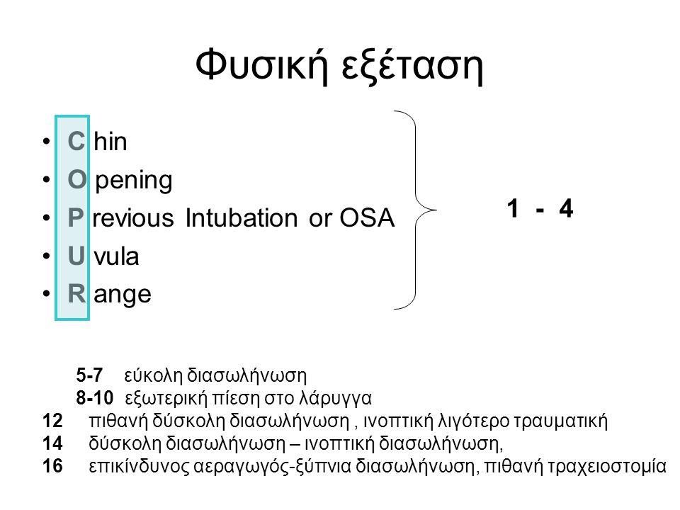 •C hin •O pening •P revious Intubation or OSA •U vula •R ange 5-7 εύκολη διασωλήνωση 8-10 εξωτερική πίεση στο λάρυγγα 12 πιθανή δύσκολη διασωλήνωση, ι