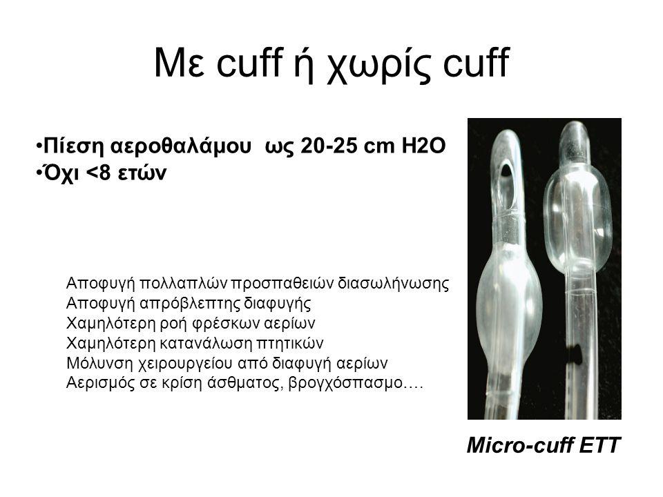 Με cuff ή χωρίς cuff •Πίεση αεροθαλάμου ως 20-25 cm H2O •Όχι <8 ετών Micro-cuff ETT Αποφυγή πολλαπλών προσπαθειών διασωλήνωσης Αποφυγή απρόβλεπτης δια
