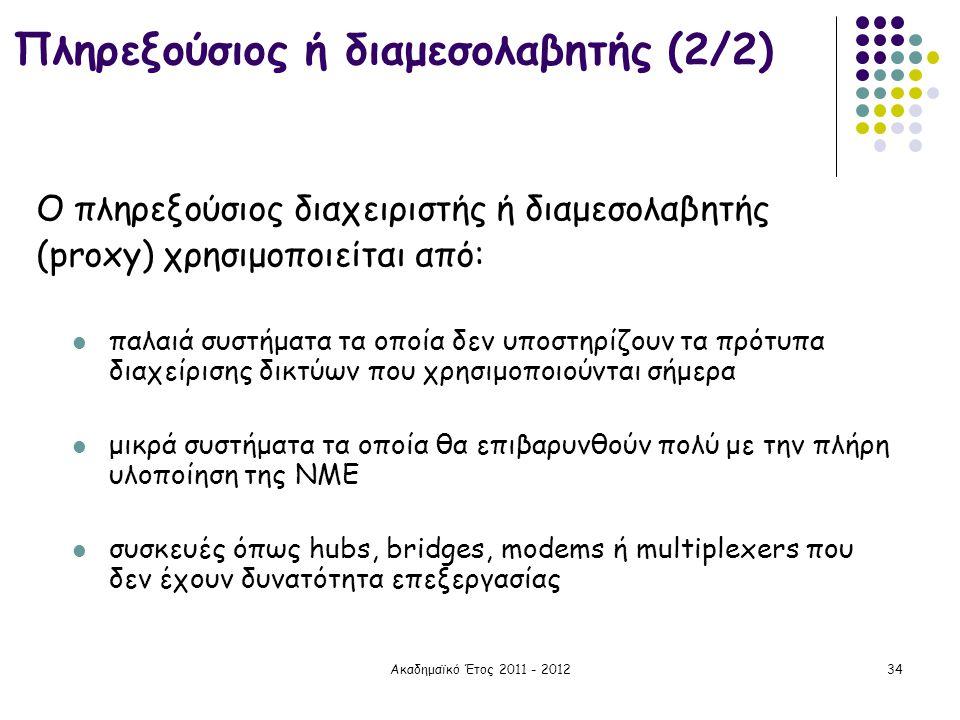 Ακαδημαϊκό Έτος 2011 - 201234 Πληρεξούσιος ή διαμεσολαβητής (2/2) Ο πληρεξούσιος διαχειριστής ή διαμεσολαβητής (proxy) χρησιμοποιείται από:  παλαιά σ