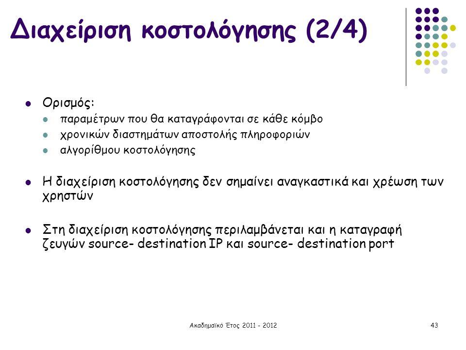 Ακαδημαϊκό Έτος 2011 - 201243  Ορισμός:  παραμέτρων που θα καταγράφονται σε κάθε κόμβο  χρονικών διαστημάτων αποστολής πληροφοριών  αλγορίθμου κοσ