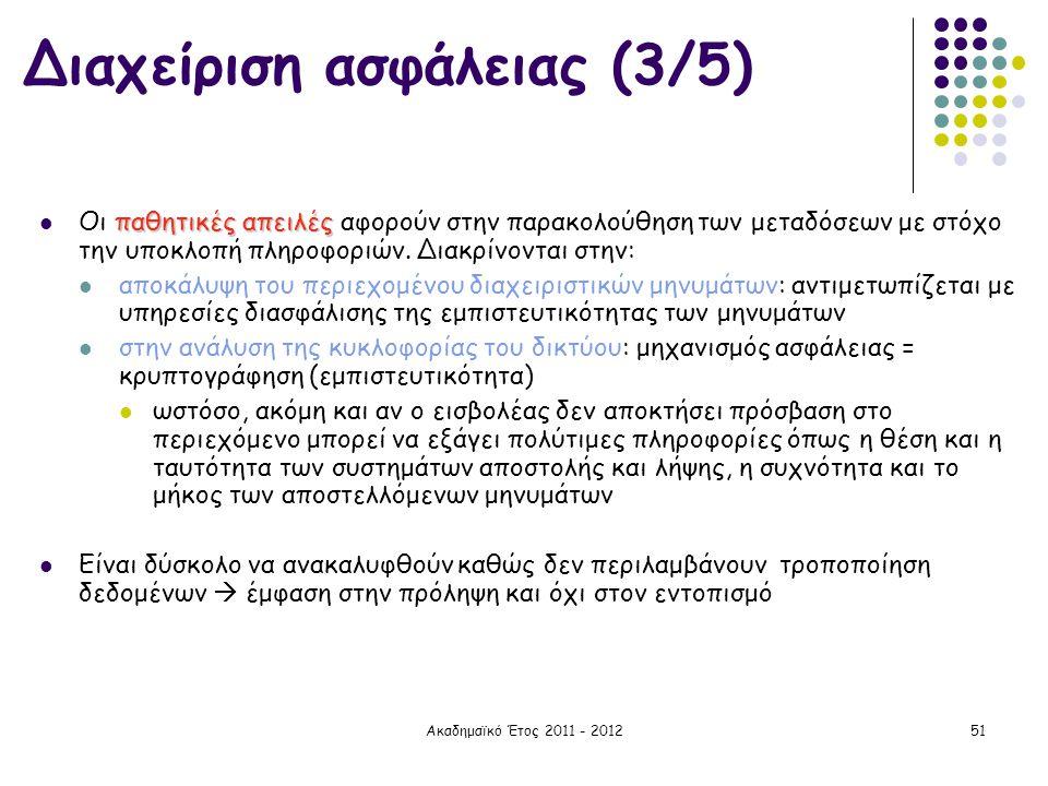 Ακαδημαϊκό Έτος 2011 - 201251 παθητικές απειλές  Οι παθητικές απειλές αφορούν στην παρακολούθηση των μεταδόσεων με στόχο την υποκλοπή πληροφοριών. Δι