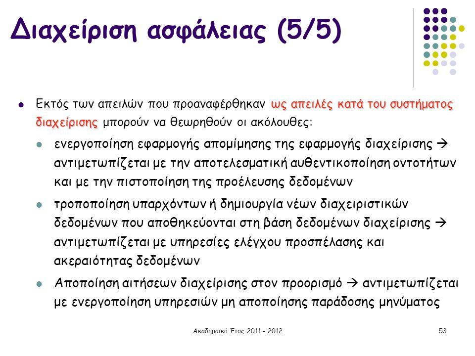Ακαδημαϊκό Έτος 2011 - 201253 ως απειλές κατά του συστήματος διαχείρισης  Εκτός των απειλών που προαναφέρθηκαν ως απειλές κατά του συστήματος διαχείρ