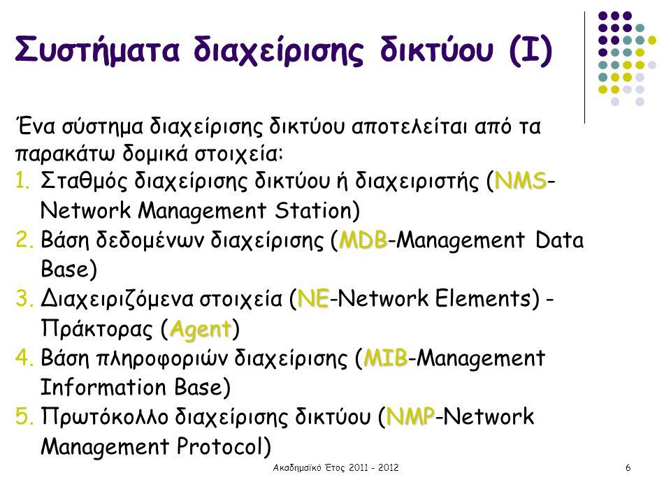 Ακαδημαϊκό Έτος 2011 - 20126 Συστήματα διαχείρισης δικτύου (Ι) Ένα σύστημα διαχείρισης δικτύου αποτελείται από τα παρακάτω δομικά στοιχεία: NMS 1.Σταθ