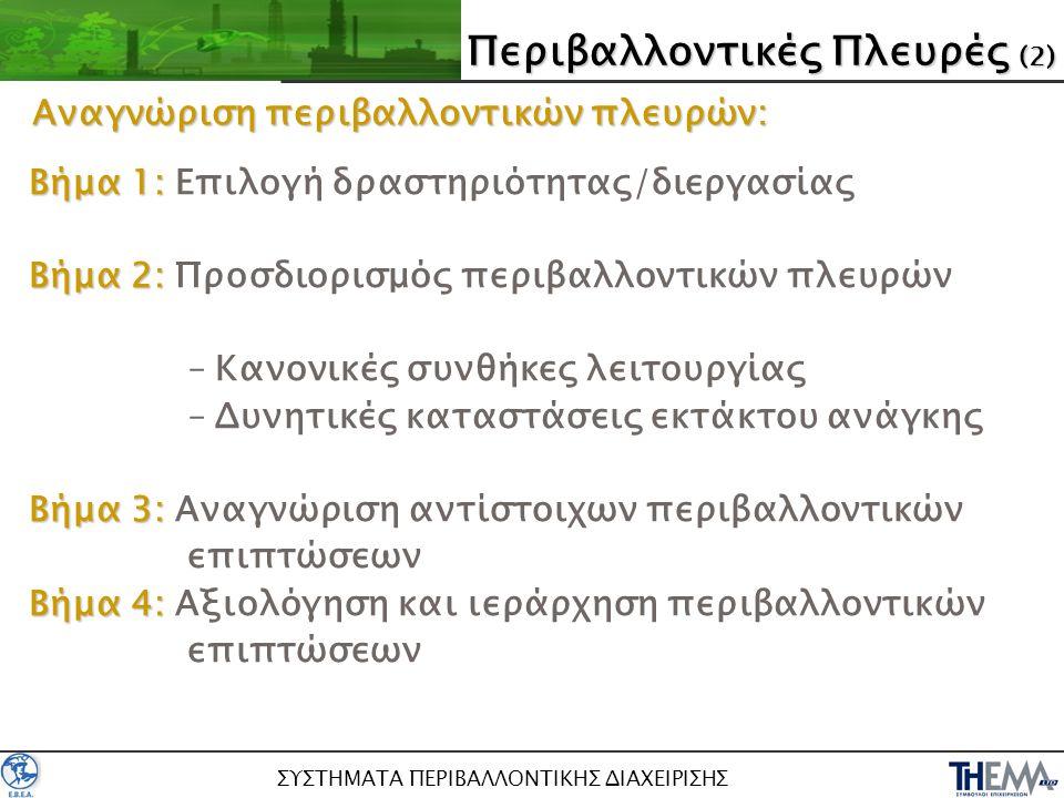 ΣΥΣΤΗΜΑΤΑ ΠΕΡΙΒΑΛΛΟΝΤΙΚΗΣ ΔΙΑΧΕΙΡΙΣΗΣ Βήμα 1: Βήμα 1: Επιλογή δραστηριότητας/διεργασίας Βήμα 2: Βήμα 2: Προσδιορισμός περιβαλλοντικών πλευρών –Κανονικ