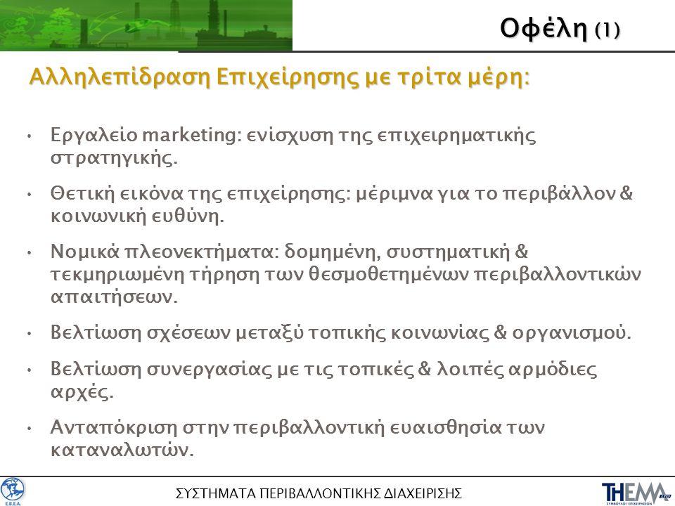 ΣΥΣΤΗΜΑΤΑ ΠΕΡΙΒΑΛΛΟΝΤΙΚΗΣ ΔΙΑΧΕΙΡΙΣΗΣ Οφέλη (2) •Περιβαλλοντικά οφέλη: –Καλύτερη διαχείριση περιβαλλοντικών θεμάτων & βελτίωση περιβαλλοντικής επίδοσης –Μείωση περιβαλλοντικών επιπτώσεων… •Επιχειρησιακά οφέλη: –Σύνδεση περιβαλλοντικών και επιχειρηματικών στόχων –Βελτίωση οργανωτικού τομέα & αποδοτικότητας λειτουργιών.