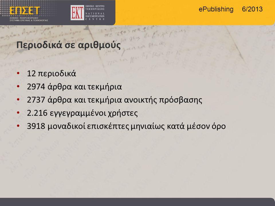 ePublishing 6/2013 Περιοδικά σε αριθμούς • 12 περιοδικά • 2974 άρθρα και τεκμήρια • 2737 άρθρα και τεκμήρια ανοικτής πρόσβασης • 2.216 εγγεγραμμένοι χ