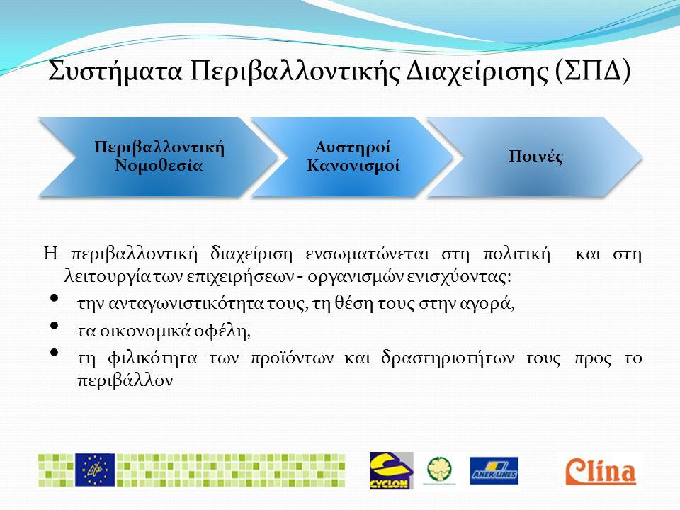 Συστήματα Περιβαλλοντικής Διαχείρισης (ΣΠΔ) Η περιβαλλοντική διαχείριση ενσωματώνεται στη πολιτική και στη λειτουργία των επιχειρήσεων - οργανισμών ενισχύοντας: • την ανταγωνιστικότητα τους, τη θέση τους στην αγορά, • τα οικονομικά οφέλη, • τη φιλικότητα των προϊόντων και δραστηριοτήτων τους προς το περιβάλλον Περιβαλλοντική Νομοθεσία Αυστηροί Κανονισμοί Ποινές
