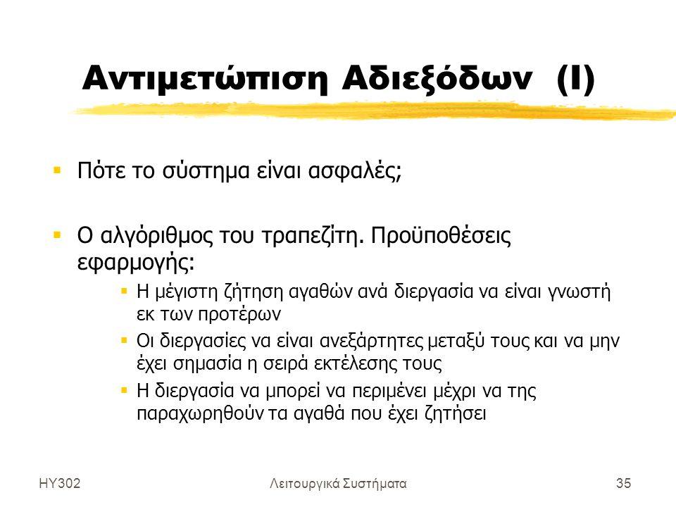 ΗΥ302Λειτουργικά Συστήματα35 Αντιμετώπιση Αδιεξόδων (Ι)  Πότε το σύστημα είναι ασφαλές;  Ο αλγόριθμος του τραπεζίτη. Προϋποθέσεις εφαρμογής:  Η μέγ