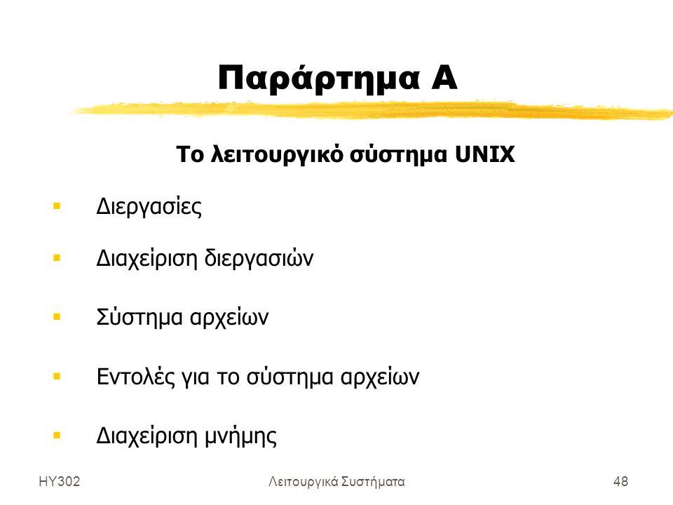 ΗΥ302Λειτουργικά Συστήματα48 Παράρτημα Α Το λειτουργικό σύστημα UNIX  Διεργασίες  Διαχείριση διεργασιών  Σύστημα αρχείων  Εντολές για το σύστημα α