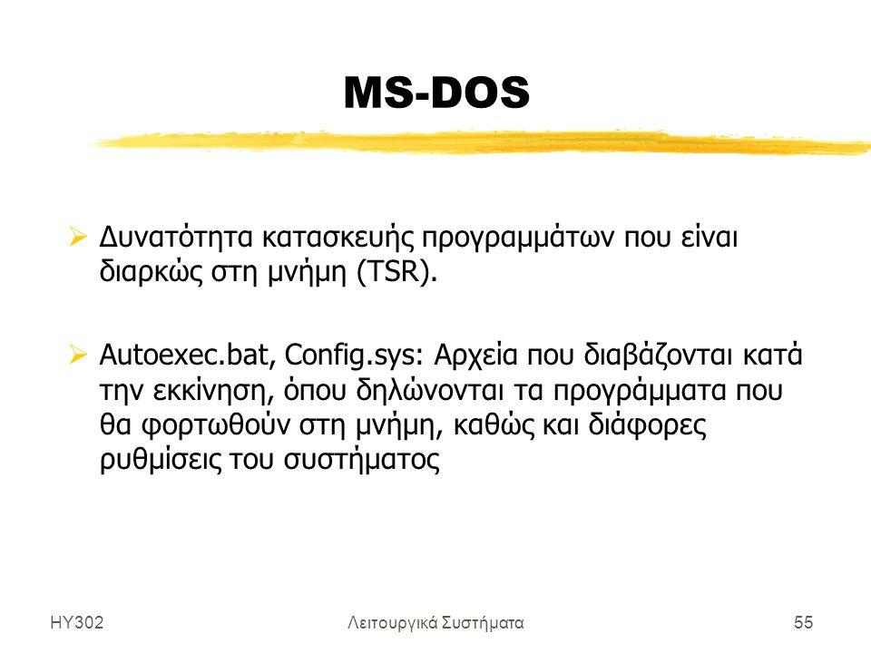 ΗΥ302Λειτουργικά Συστήματα55 MS-DOS  Δυνατότητα κατασκευής προγραμμάτων που είναι διαρκώς στη μνήμη (TSR).  Autoexec.bat, Config.sys: Αρχεία που δια