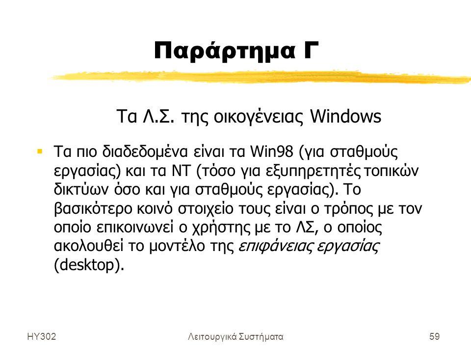 ΗΥ302Λειτουργικά Συστήματα59 Παράρτημα Γ Τα Λ.Σ. της οικογένειας Windows  Τα πιο διαδεδομένα είναι τα Win98 (για σταθμούς εργασίας) και τα NT (τόσο γ