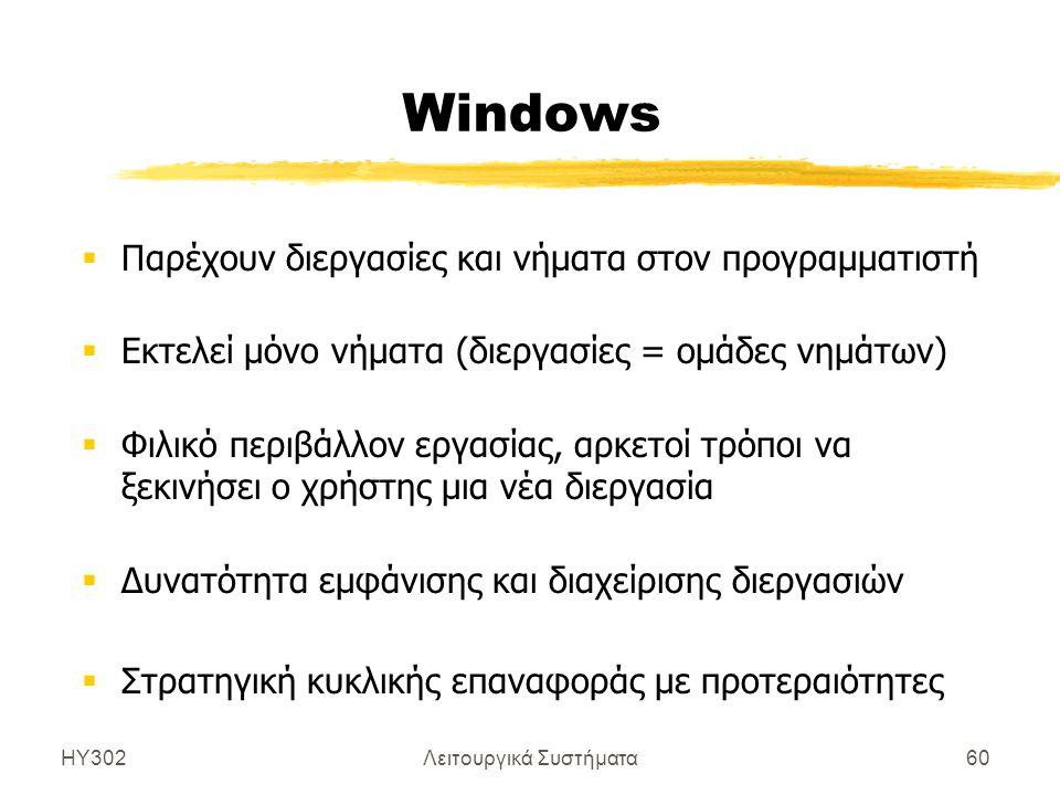 ΗΥ302Λειτουργικά Συστήματα60 Windows  Παρέχουν διεργασίες και νήματα στον προγραμματιστή  Εκτελεί μόνο νήματα (διεργασίες = ομάδες νημάτων)  Φιλικό