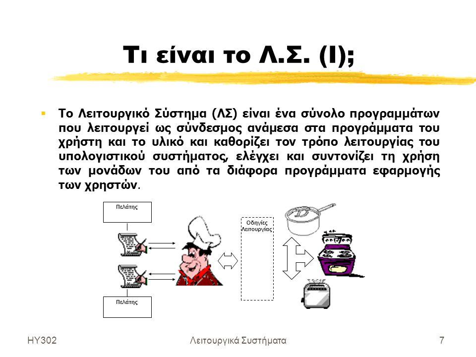 ΗΥ302Λειτουργικά Συστήματα7 Τι είναι το Λ.Σ. (Ι);  Το Λειτουργικό Σύστημα (ΛΣ) είναι ένα σύνολο προγραμμάτων που λειτουργεί ως σύνδεσμος ανάμεσα στα