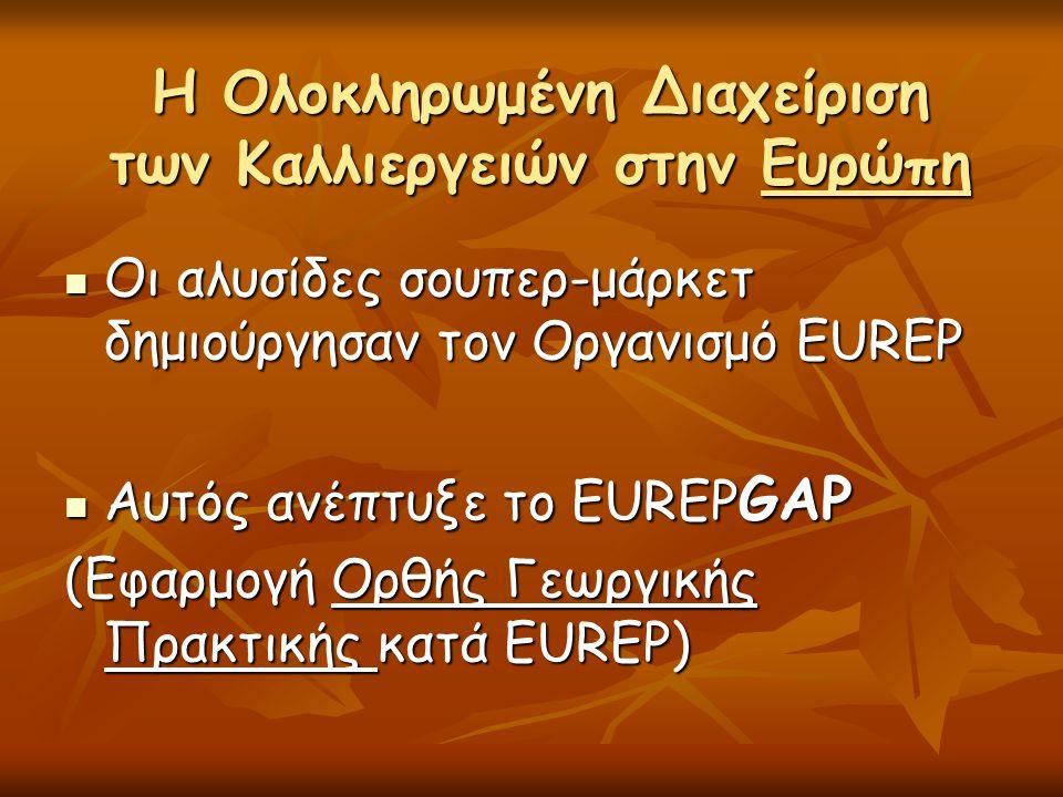 Η Ολοκληρωμένη Διαχείριση των Καλλιεργειών στην Ευρώπη  Οι αλυσίδες σουπερ-μάρκετ δημιούργησαν τον Οργανισμό EUREP  Αυτός ανέπτυξε το EUREP GAP (Εφα