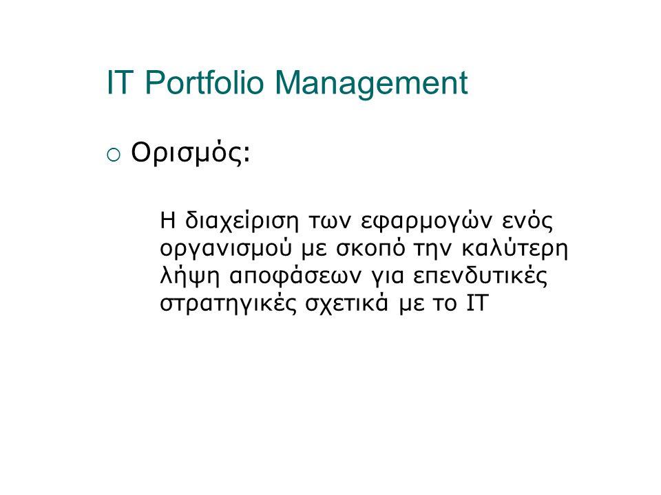 IT Portfolio Management  Ορισμός: Η διαχείριση των εφαρμογών ενός οργανισμού με σκοπό την καλύτερη λήψη αποφάσεων για επενδυτικές στρατηγικές σχετικά με το IT