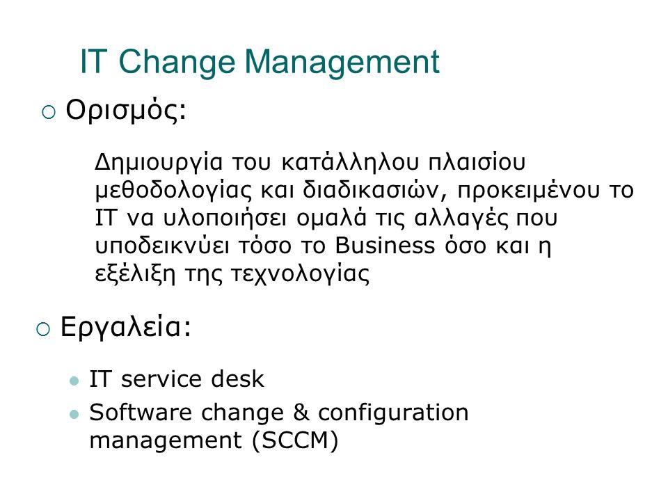 IT Change Management  Ορισμός: Δημιουργία του κατάλληλου πλαισίου μεθοδολογίας και διαδικασιών, προκειμένου το IT να υλοποιήσει ομαλά τις αλλαγές που υποδεικνύει τόσο το Business όσο και η εξέλιξη της τεχνολογίας  Εργαλεία:  IT service desk  Software change & configuration management (SCCM)