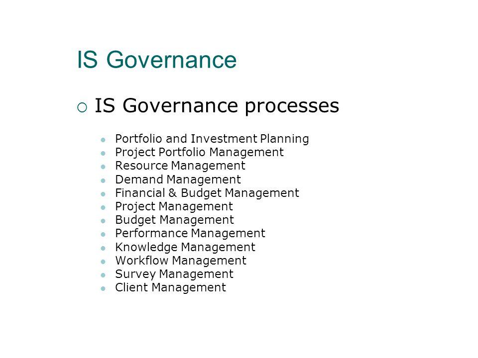Συμπεράσματα  Το IS Governance:  Καθορίζει σχετικές διαδικασίες προωθώντας μία ποιοτική προσέγγιση για την επίτευξη επιχειρησιακής αποδοτικότητας και αποτελεσματικότητας στη χρήση των IT υποδομών  Δεν πρέπει να υπαγορεύει αλλά να υποστηρίζει τις διαδικασίες του οργανισμού  Βελτιώνει τα επίπεδα υπηρεσιών, την αποδοτικότητα και την αποτελεσματικότητα της λειτουργίας του IT  Αυξάνει τον έλεγχο της ποιότητας  Μειώνει το κόστος λειτουργίας  Αποτελεί τον απολογισμό των βέλτιστων πρακτικών