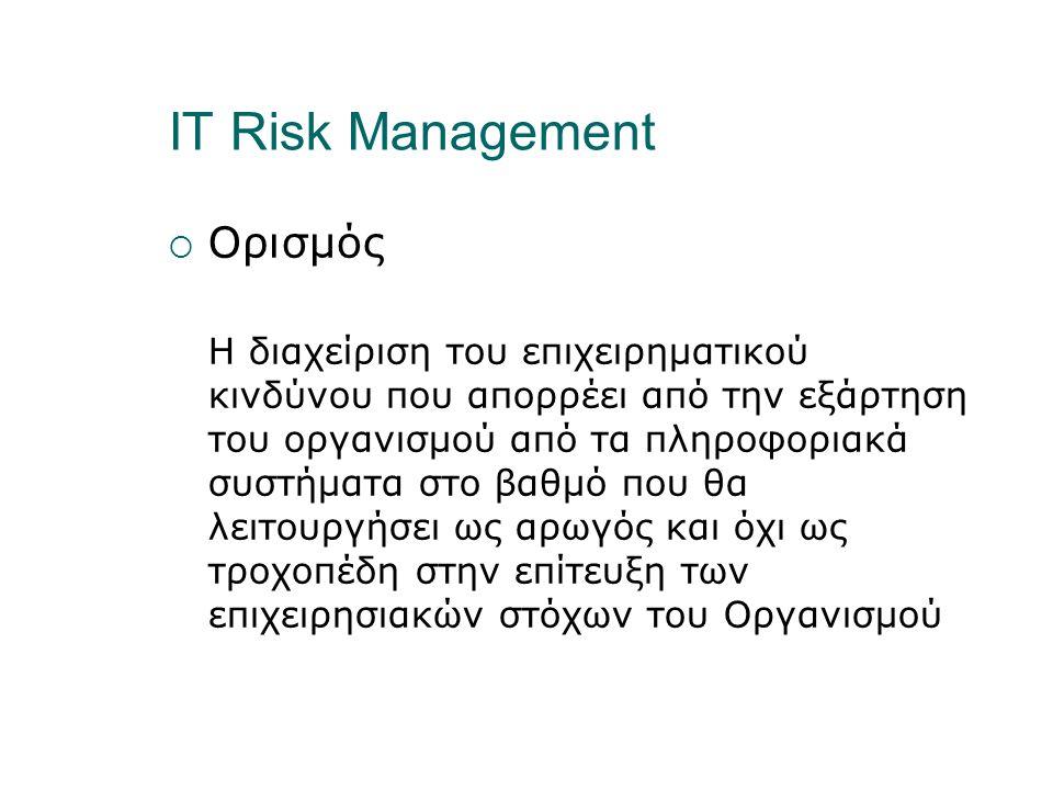 IT Risk Management  Ορισμός Η διαχείριση του επιχειρηματικού κινδύνου που απορρέει από την εξάρτηση του οργανισμού από τα πληροφοριακά συστήματα στο βαθμό που θα λειτουργήσει ως αρωγός και όχι ως τροχοπέδη στην επίτευξη των επιχειρησιακών στόχων του Οργανισμού