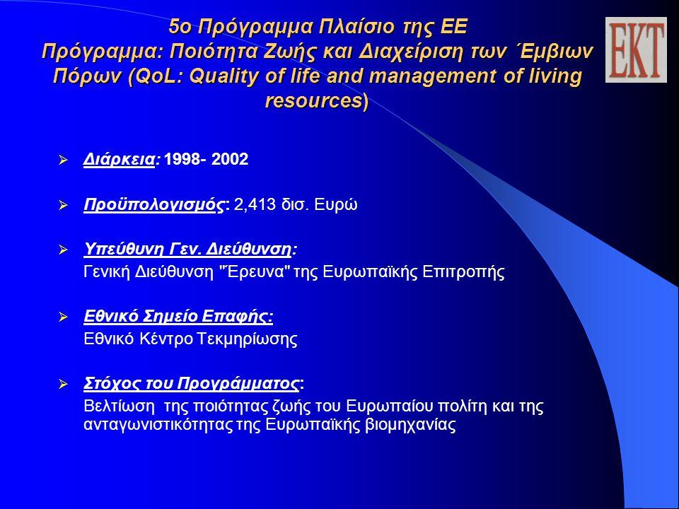 5ο Πρόγραμμα Πλαίσιο της ΕΕ Πρόγραμμα: Ποιότητα Ζωής και Διαχείριση των ΄Εμβιων Πόρων (QoL: Quality of life and management of living resources)  Διάρκεια: 1998- 2002  Προϋπολογισμός: 2,413 δισ.