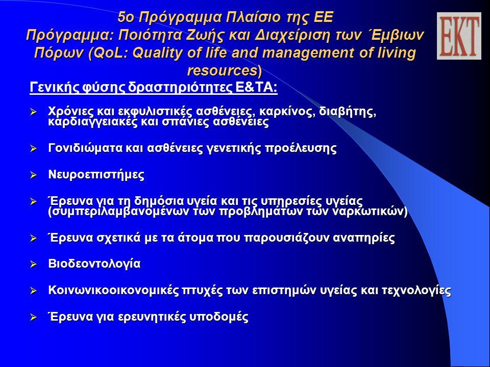 5ο Πρόγραμμα Πλαίσιο της ΕΕ Πρόγραμμα: Ποιότητα Ζωής και Διαχείριση των ΄Εμβιων Πόρων (QoL: Quality of life and management of living resources) Γενικής φύσης δραστηριότητες Ε&ΤΑ:  Χρόνιες και εκφυλιστικές ασθένειες, καρκίνος, διαβήτης, καρδιαγγειακές και σπάνιες ασθένειες  Γονιδιώματα και ασθένειες γενετικής προέλευσης  Γονιδιώματα και ασθένειες γενετικής προέλευσης  Νευροεπιστήμες  Έρευνα για τη δημόσια υγεία και τις υπηρεσίες υγείας (συμπεριλαμβανομένων των προβλημάτων των ναρκωτικών)  Έρευνα σχετικά με τα άτομα που παρουσιάζουν αναπηρίες  Έρευνα σχετικά με τα άτομα που παρουσιάζουν αναπηρίες  Βιοδεοντολογία  Κοινωνικοοικονομικές πτυχές των επιστημών υγείας και τεχνολογίες  Έρευνα για ερευνητικές υποδομές