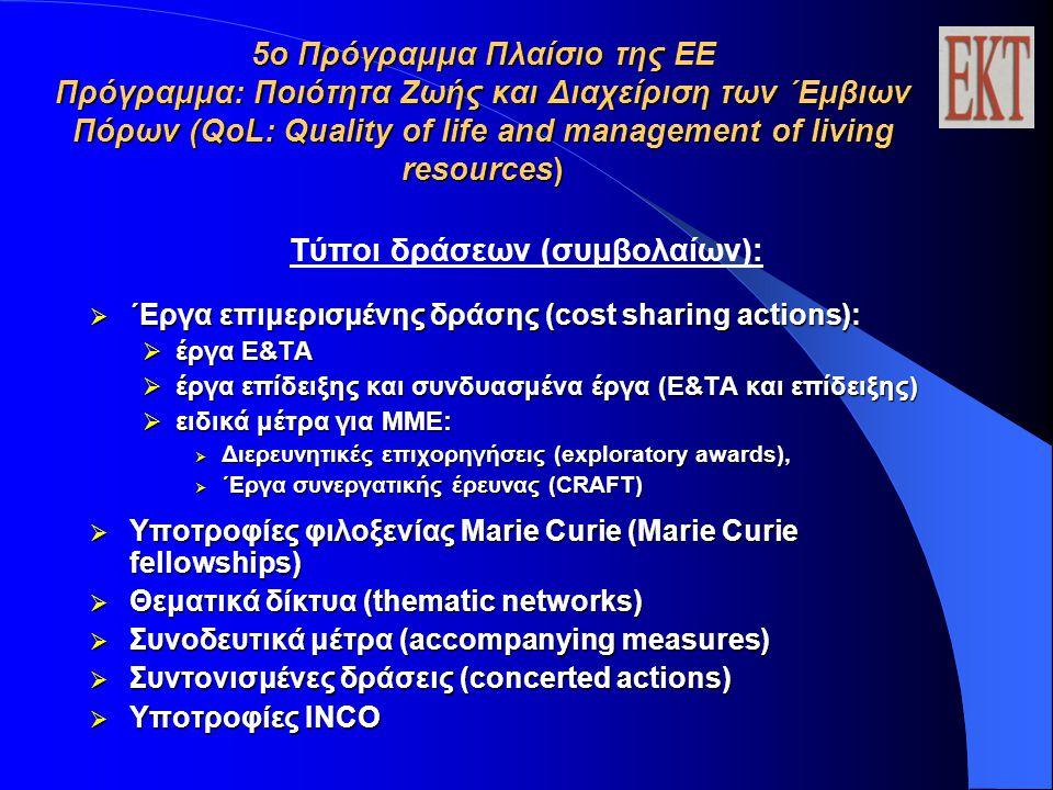 5ο Πρόγραμμα Πλαίσιο της ΕΕ Πρόγραμμα: Ποιότητα Ζωής και Διαχείριση των ΄Εμβιων Πόρων (QoL: Quality of life and management of living resources) Τύποι δράσεων (συμβολαίων):  ΄Εργα επιμερισμένης δράσης (cost sharing actions):  έργα E&TA  έργα επίδειξης και συνδυασμένα έργα (Ε&ΤΑ και επίδειξης)  ειδικά μέτρα για ΜΜΕ:  Διερευνητικές επιχορηγήσεις (exploratory awards),  ΄Εργα συνεργατικής έρευνας (CRAFT)  Υποτροφίες φιλοξενίας Marie Curie (Marie Curie fellowships)  Θεματικά δίκτυα (thematic networks)  Συνοδευτικά μέτρα (accompanying measures)  Συντονισμένες δράσεις (concerted actions)  Υποτροφίες INCO