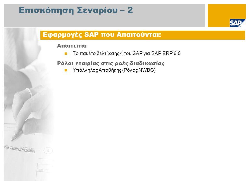 Επισκόπηση Σεναρίου – 2 Απαιτείται  Το πακέτο βελτίωσης 4 του SAP για SAP ERP 6.0 Ρόλοι εταιρίας στις ροές διαδικασίας  Υπάλληλος Αποθήκης (Ρόλος NWBC) Εφαρμογές SAP που Απαιτούνται: