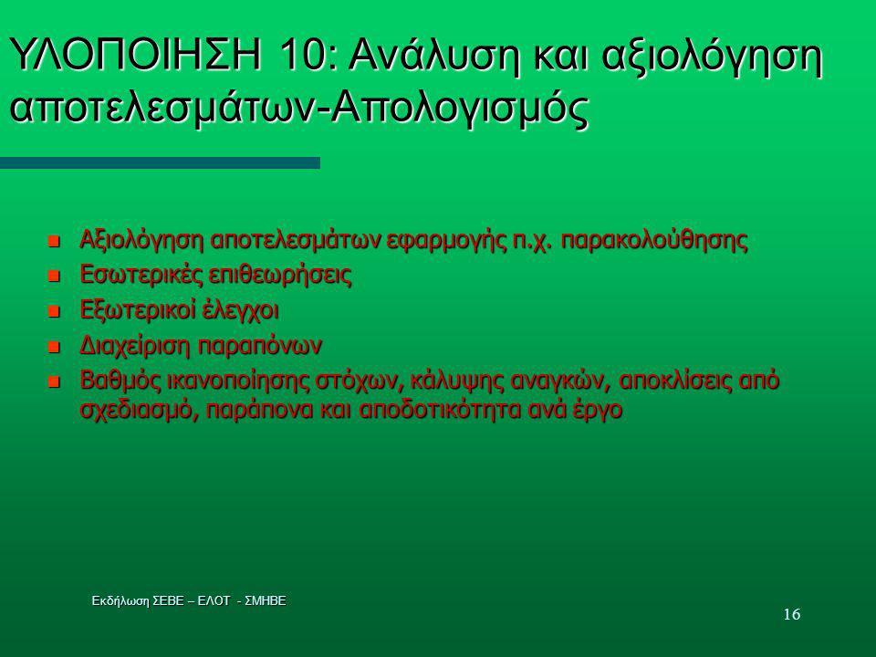 16 ΥΛΟΠΟΙΗΣΗ 10: Ανάλυση και αξιολόγηση αποτελεσμάτων-Απολογισμός  Αξιολόγηση αποτελεσμάτων εφαρμογής π.χ.