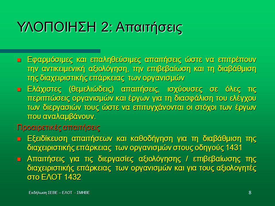 9 ΥΛΟΠΟΙΗΣΗ 3: Διαχείριση διεργασιών / λειτουργιών ΣΔΕΠ  Έλεγχος δικτύου διεργασιών με σχέσεις και αλληλεπιδράσεις ώστε να αξιοποιούνται οι πόροι (ανθρώπινο δυναμικό, πληροφορίες, υλικά, εξοπλισμοί και μέσα) για την επίτευξη των στόχων  Καθορισμός στόχων και μεθόδων παρακολούθησης των διεργασιών  Εξασφάλιση της διαθεσιμότητας των πόρων και πληροφοριών για την υποστήριξη, τη λειτουργία και την παρακολούθησή τους  Π αρακολούθηση της λειτουργίας  Μετρήσεις και ανάλυση αποτελεσμάτων λειτουργίας, και  Συνεχής βελτίωση σύμφωνα με τον κ ύκλο PDCA (σχεδιάζω – εκτελώ – ελέγχω – βελτιώνω) Εκδήλωση ΣΕΒΕ – ΕΛΟΤ - ΣΜΗΒΕ