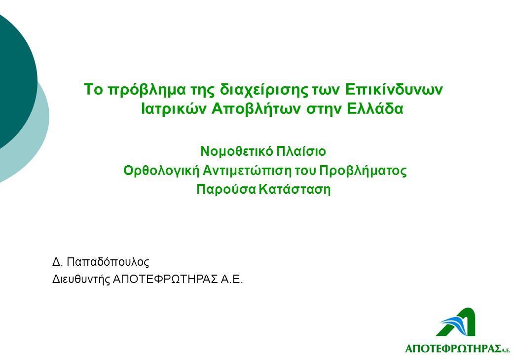 Το πρόβλημα της διαχείρισης των Επικίνδυνων Ιατρικών Αποβλήτων στην Ελλάδα Νομοθετικό Πλαίσιο Ορθολογική Αντιμετώπιση του Προβλήματος Παρούσα Κατάστασ