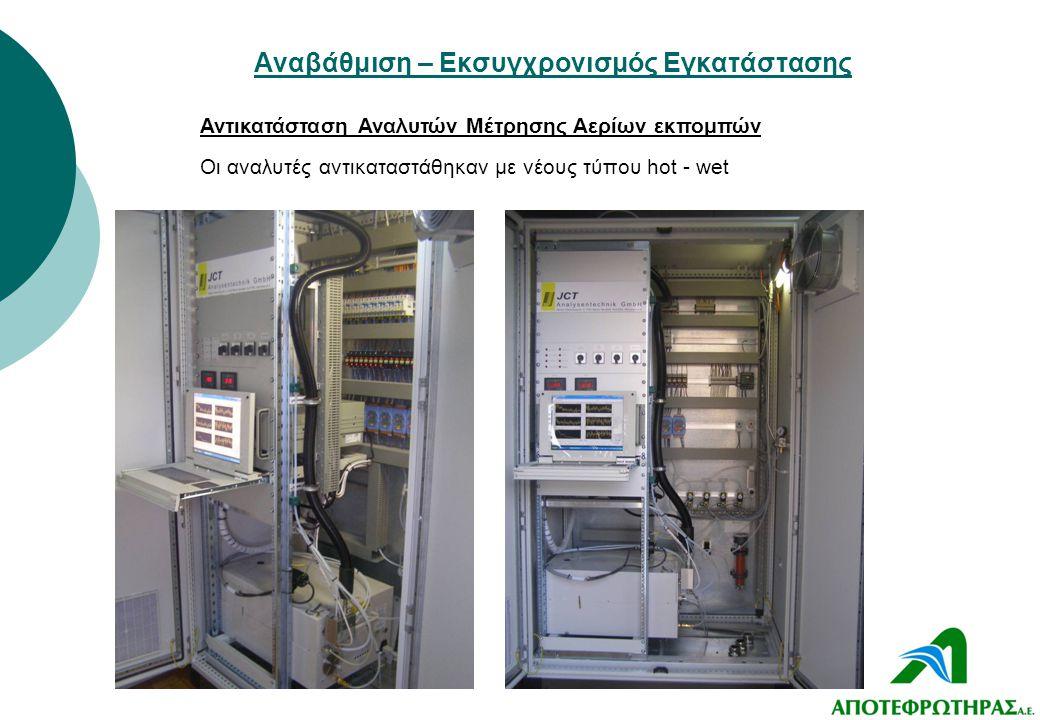 Αναβάθμιση – Εκσυγχρονισμός Εγκατάστασης Αντικατάσταση Αναλυτών Μέτρησης Αερίων εκπομπών Οι αναλυτές αντικαταστάθηκαν με νέους τύπου hot - wet