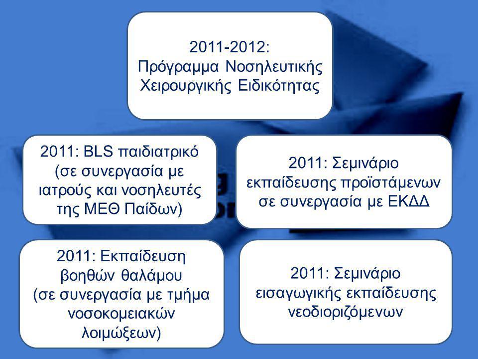 2011-2012: Πρόγραμμα Νοσηλευτικής Χειρουργικής Ειδικότητας 2011: Σεμινάριο εισαγωγικής εκπαίδευσης νεοδιοριζόμενων 2011: BLS παιδιατρικό (σε συνεργασία με ιατρούς και νοσηλευτές της ΜΕΘ Παίδων) 2011: Σεμινάριο εκπαίδευσης προϊστάμενων σε συνεργασία με ΕΚΔΔ 2011: Εκπαίδευση βοηθών θαλάμου (σε συνεργασία με τμήμα νοσοκομειακών λοιμώξεων)
