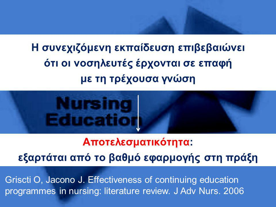 Η συνεχιζόμενη εκπαίδευση επιβεβαιώνει ότι οι νοσηλευτές έρχονται σε επαφή με τη τρέχουσα γνώση Griscti O, Jacono J. Effectiveness of continuing educa