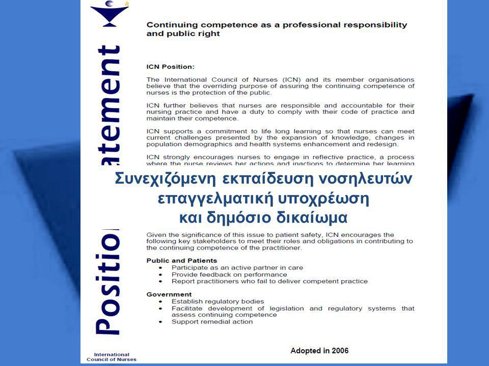 Συνεχιζόμενη εκπαίδευση νοσηλευτών επαγγελματική υποχρέωση και δημόσιο δικαίωμα