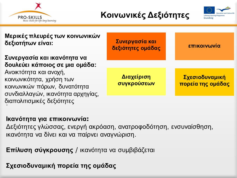 Κοινωνικές Δεξιότητες. Ικανότητα για επικοινωνία : Δεξιότητες γλώσσας, ενεργή ακρόαση, ανατροφοδότηση, ενσυναίσθηση, ικανότητα να δίνει και να παίρνει
