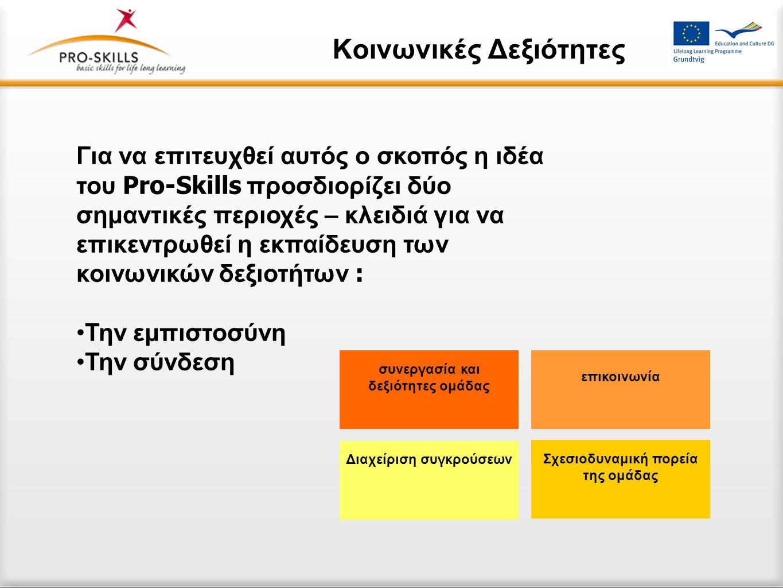 Κοινωνικές Δεξιότητες Για να επιτευχθεί αυτός ο σκοπός η ιδέα του Pro-Skills προσδιορίζει δύο σημαντικές περιοχές – κλειδιά για να επικεντρωθεί η εκπαίδευση των κοινωνικών δεξιοτήτων : •Την εμπιστοσύνη •Την σύνδεση συνεργασία και δεξιότητες ομάδας επικοινωνία Σχεσιοδυναμική πορεία της ομάδας Διαχείριση συγκρούσεων