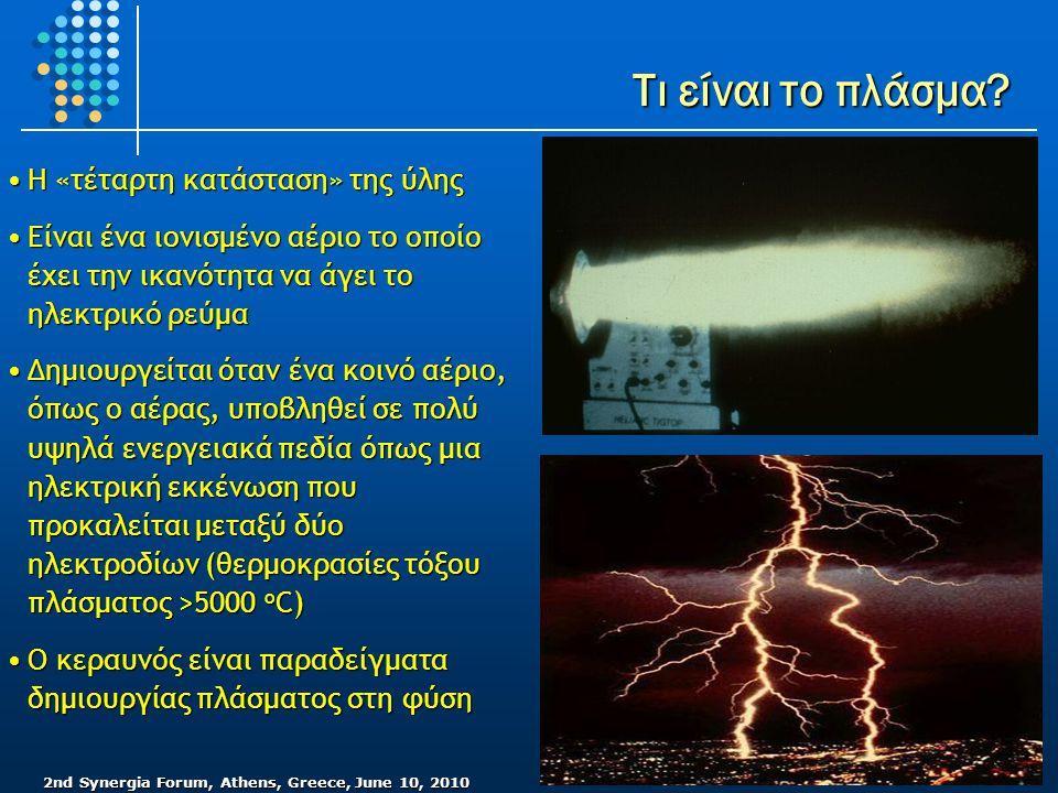 2nd Synergia Forum, Athens, Greece, June 10, 2010 Τι είναι το πλάσμα? •Η «τέταρτη κατάσταση» της ύλης •Είναι ένα ιονισμένο αέριο το οποίο έχει την ικα
