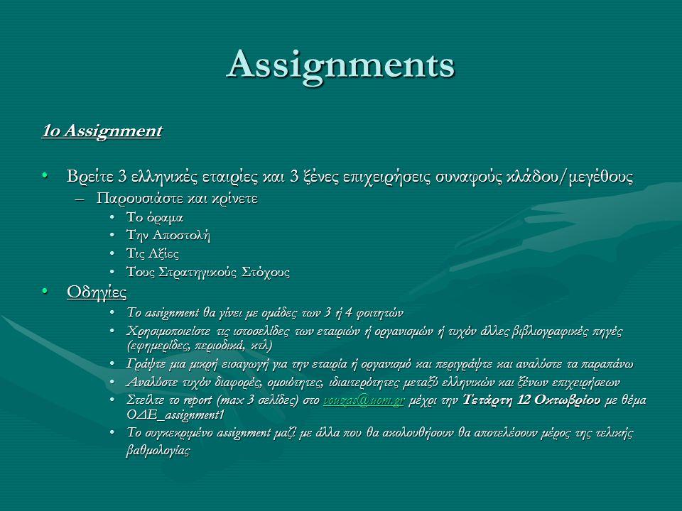Assignments 1o Assignment •Βρείτε 3 ελληνικές εταιρίες και 3 ξένες επιχειρήσεις συναφούς κλάδου/μεγέθους –Παρουσιάστε και κρίνετε •Το όραμα •Την Αποστ