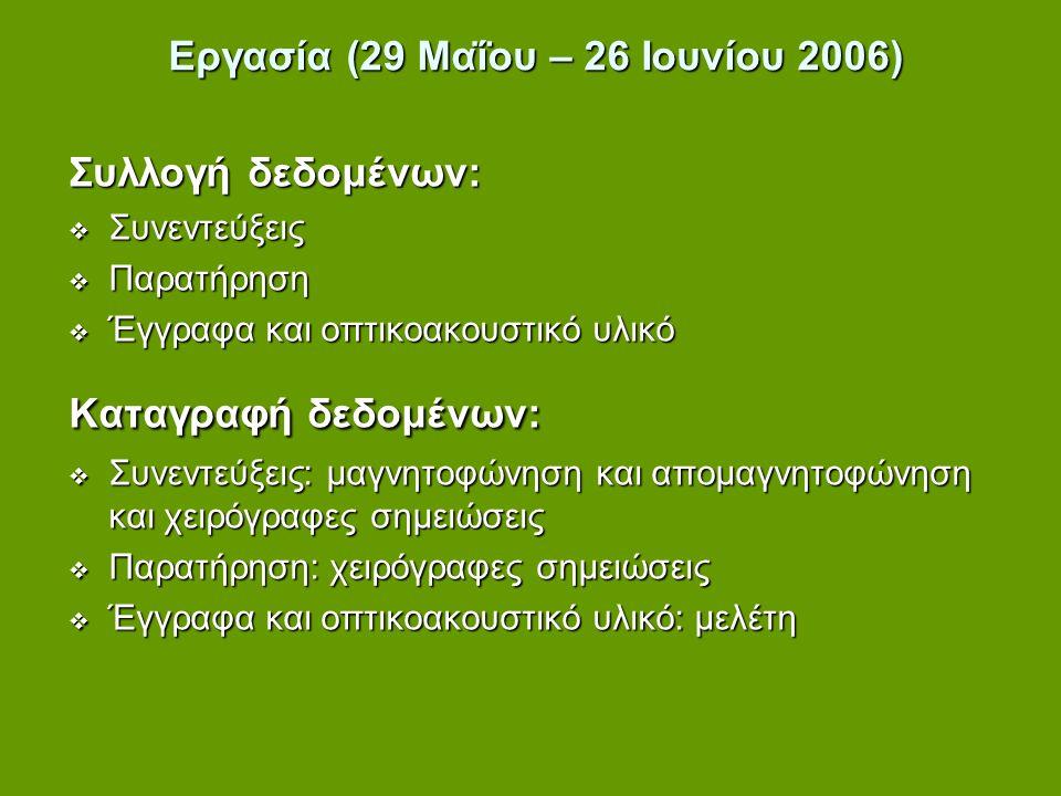 Εργασία (29 Μαΐου – 26 Ιουνίου 2006) Συλλογή δεδομένων:  Συνεντεύξεις  Παρατήρηση  Έγγραφα και οπτικοακουστικό υλικό Καταγραφή δεδομένων:  Συνεντε
