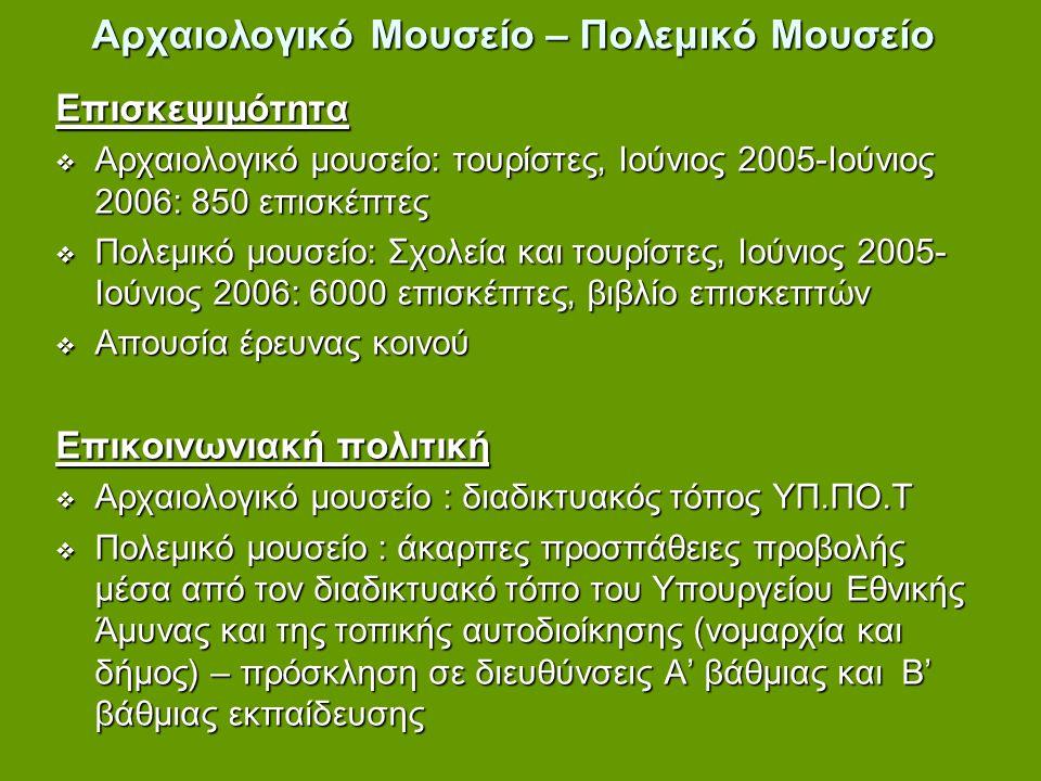 Αρχαιολογικό Μουσείο – Πολεμικό Μουσείο Επισκεψιμότητα  Αρχαιολογικό μουσείο: τουρίστες, Ιούνιος 2005-Ιούνιος 2006: 850 επισκέπτες  Πολεμικό μουσείο