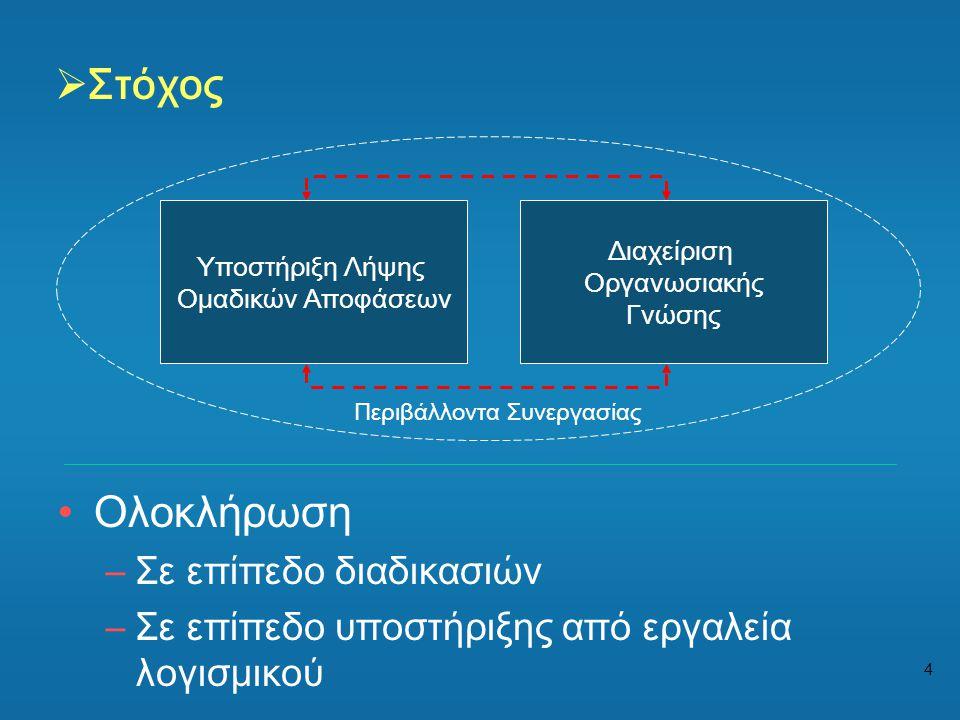 4  Στόχος •Ολοκλήρωση –Σε επίπεδο διαδικασιών –Σε επίπεδο υποστήριξης από εργαλεία λογισμικού Διαχείριση Οργανωσιακής Γνώσης Υποστήριξη Λήψης Ομαδικώ
